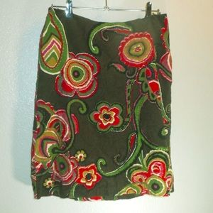 Wills River Co Brown Corduroy Floral skirt